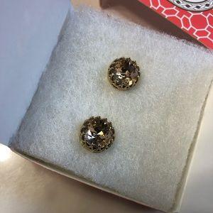 Stella & Dot Nancy sparkle studs earrings peach
